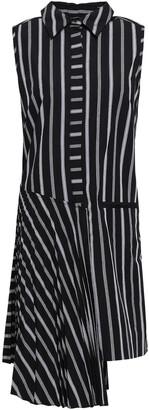 Milly Andrea Asymmetric Striped Cotton-poplin Dress