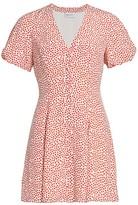 Milly Aspen Heart-Print Silk Dress
