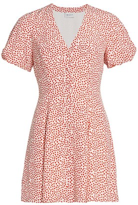 Milly Aspen Heart-Print Silk Dress