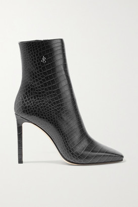 Jimmy Choo Minori 100 Embellished Croc-effect Leather Ankle Boots - Charcoal