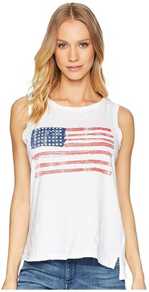 The Original Retro Brand American Flag Sleeveless Slub Tank Top (White) Women's Sleeveless