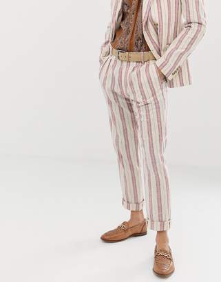 Asos Design DESIGN skinny suit pants in cream linen stripe-White