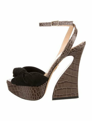 Charlotte Olympia Suede Animal Print Sandals Black