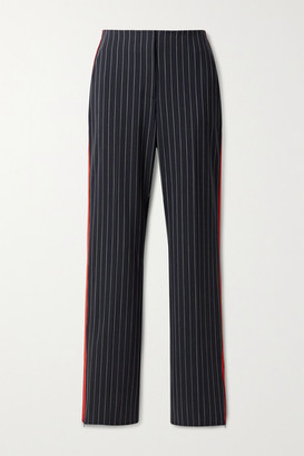 Rag & Bone Jess Grosgrain-trimmed Pinstriped Wool-blend Straight-leg Pants - Navy