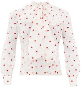 Brock Collection Pussy-bow Heart-embroidered Silk-blend Blouse - Womens - Ivory Multi