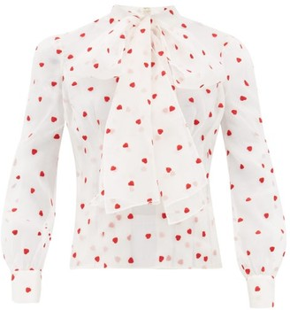 Brock Collection Pussy-bow Heart-embroidered Silk-blend Blouse - Ivory Multi