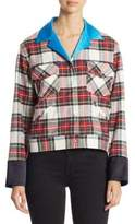 Plaid Button-Front Jacket