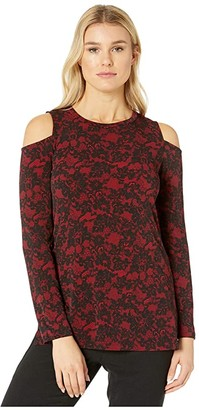 MICHAEL Michael Kors Glam Lace Long Sleeve Cold-Shoulder (Red Currant) Women's Clothing