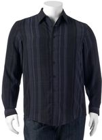Haggar Big & Tall Classic-Fit Striped Easy-Care Microfiber Button-Down Shirt