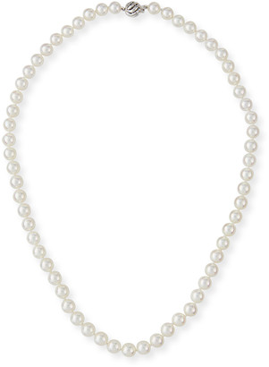 BELPEARL 18k White Gold Classic Akoya Cultured Pearl Necklace, 6.5x7mm