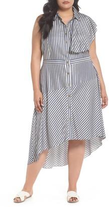 Rachel Roy Stripe Asymmetrical Ruffle Shirtdress (Plus Size)