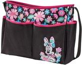 Disney Minnie Mouse Floral Print Large Hobo Diaper Bag, Black, Pink