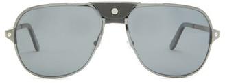 Cartier Santos De Aviator Metal Sunglasses - Black