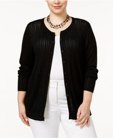 August Silk Plus Size Pointelle Cardigan