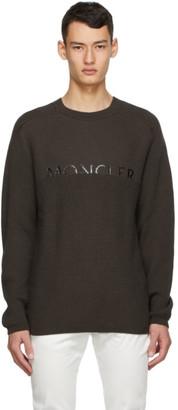 Moncler Khaki Wool Logo Sweater