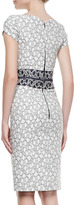 Carolina Herrera Sweetheart-Neck Sheath Dress, White/Navy
