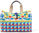 Dolce & Gabbana Escape Textured Leather-trimmed Printed Canvas Tote - Yellow