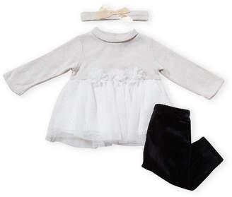 Nicole Miller Newborn Girls) Two-Piece Sweater Dress & Velvet Leggings Set