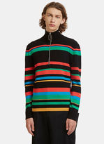 J.w. Anderson Striped Knit Polo Zipped Sweater In Black