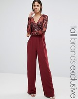 Maya Tall Long Sleeve Jumpsuit With Mesh And Embellished Top Detail