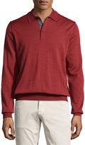 Neiman Marcus Wool Long-Sleeve Polo Sweater, Rio Red