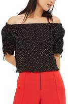 Topshop Spot Drawstring Sleeve Off the Shoulder Top