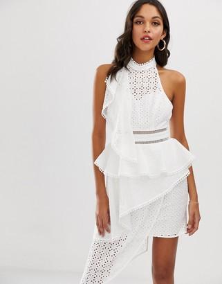 Asos Design DESIGN halter midi dress in broderie with tiered waist-White
