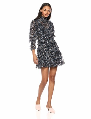 Rebecca Taylor Women's Long Sleeve Print Ruffle Dress