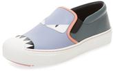 Fendi Bag Bug Leather Slip-On Sneaker