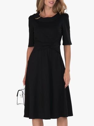 Jolie Moi Fold Collar Flare Knee Length Dress