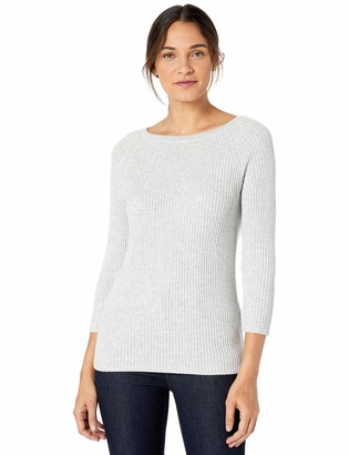 Lark & Ro 3/4 Sleeve Ballet Neck Rib Sweater Light Grey Heather XL