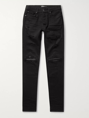 Amiri Mx1 Skinny-Fit Distressed Leather-Panelled Stretch-Denim Jeans