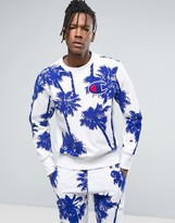 Champion Sweatshirt With All Over Palm Print