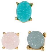 BaubleBar Estelle Druzy Stud Earrings - Set of 3