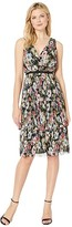 Adrianna Papell Printed Floral Garden Printed Tiered Dress (Black Multi) Women's Dress