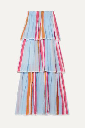Lemlem Net Sustain Eskedar Tiered Striped Cotton-blend Gauze Maxi Dress - Light blue
