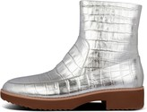FitFlop Kinbey Croc-Embossed Metallic Leather Ankle Boots