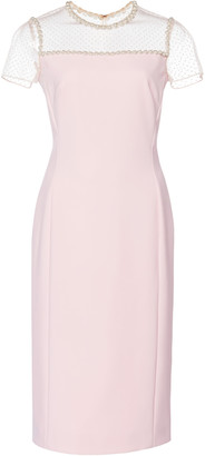 Jenny Packham Illusion Neckline Satin Dress
