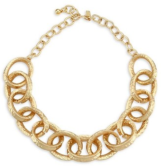Kenneth Jay Lane 22K Goldplated Hammered Oval-Link Necklace