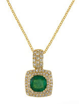 Effy 14K Yellow Gold Emerald and Diamond Pendant Necklace