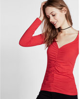 Express sweetheart neck ruched front tee