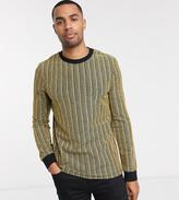Asos Design ASOS DESIGN Tall skinny long sleeve t-shirt in glitter mesh stripe-Black