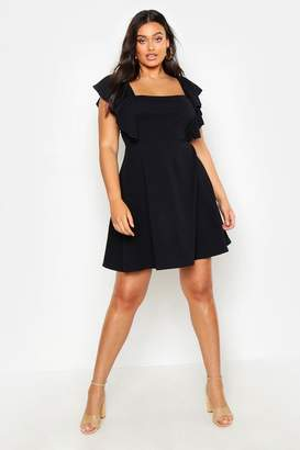 boohoo Plus Ruffle Front Pinafore Dress