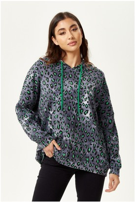 Liquorish Green Animal Print Hoodie Sweatshirt in Grey