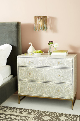 Anthropologie Scroll Vine Inlay Three-Drawer Dresser By in Grey Size ALL