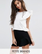 Missguided Petite Asymmetric Frill Top