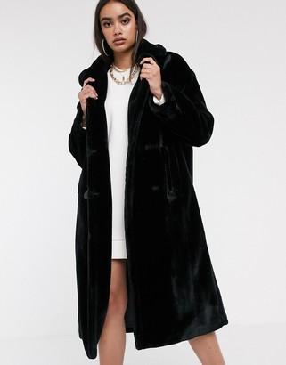 Asos DESIGN plush faux fur maxi coat with seam detailing in black