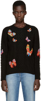 Valentino Black Butterfly Knit Crewneck