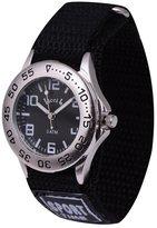 Wolfteeth Young Boys Silver Case Army Military Sport Wrist Watch Time Teacher, Nylon Velcro Strap Black 306102