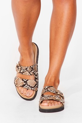 Nasty Gal Womens Ring It On Snake Faux Leather Sandals - Nude